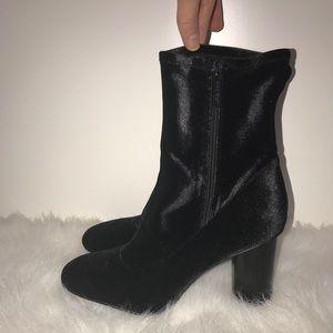 Nine West Black Velvet Ankle Boots
